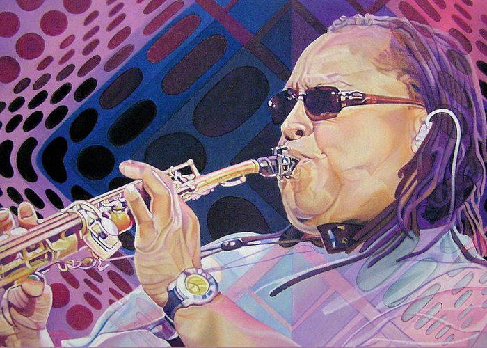 Leroi Moore Greeting Card featuring the drawing Leroi Moore by Joshua Morton