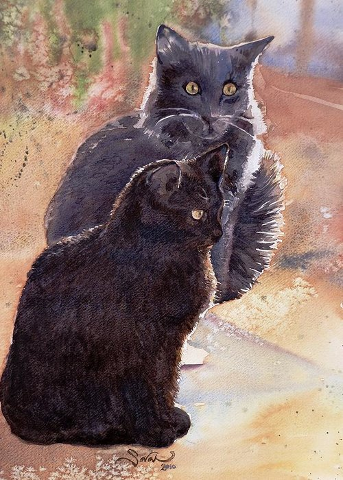 Cats Greeting Card featuring the painting Les Chats by Sarah Kovin Snyder