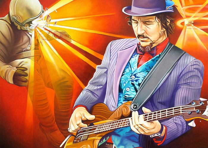 Les Claypool Greeting Card featuring the painting Les Claypool's-sonic Boom by Joshua Morton