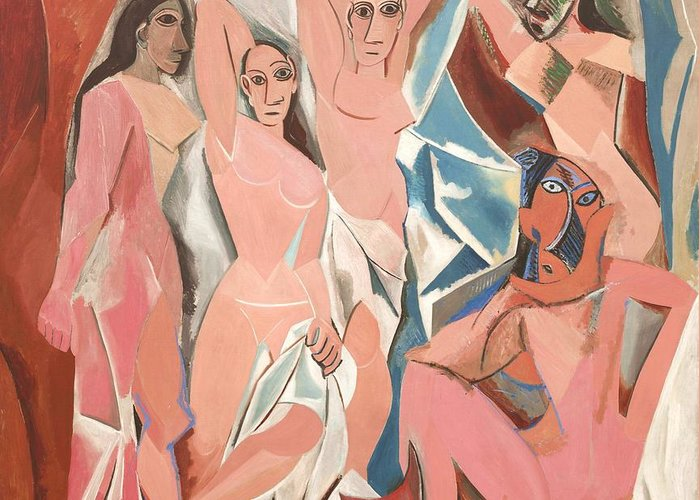U.s.pd Greeting Card featuring the painting Les Demoiselles D' Avignon by Reproduction