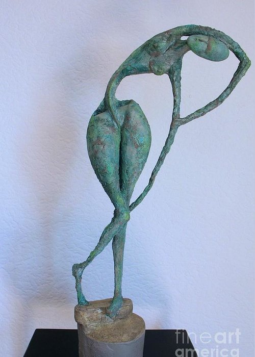Nude Sculptures Greeting Card featuring the sculpture Les Filles De L'asse 3 by Flow Fitzgerald