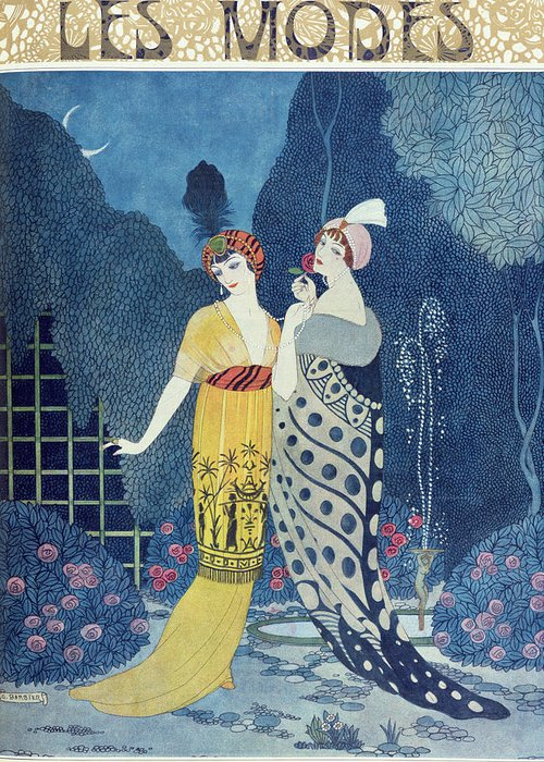 Art Deco Greeting Card featuring the painting Les Modes by Georges Barbier