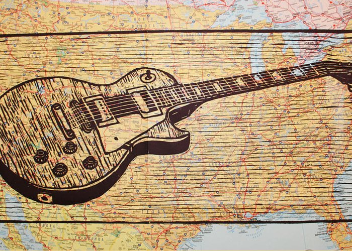 Les Paul Greeting Card featuring the drawing Les Paul On Usa Map by William Cauthern