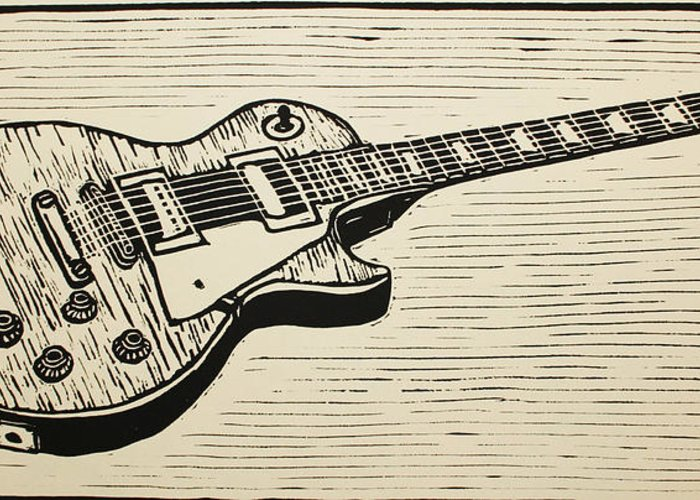 Les Paul Greeting Card featuring the drawing Les Paul by William Cauthern