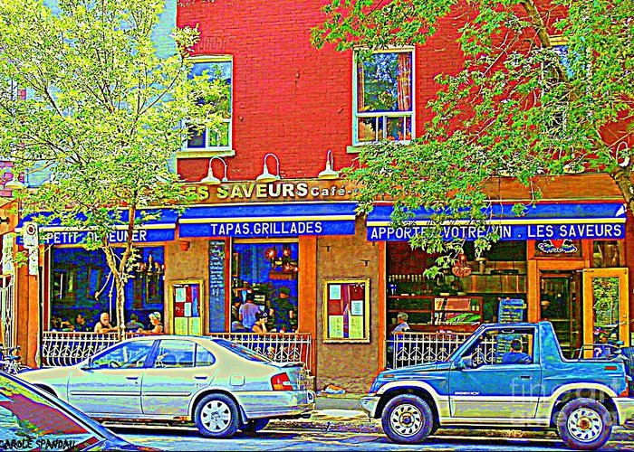 Street Scenes Greeting Card featuring the painting Les Saveurs Tapas Grillades Apportez Votre Vin Montreal Cafe Art Scene By Carole Spandau by Carole Spandau