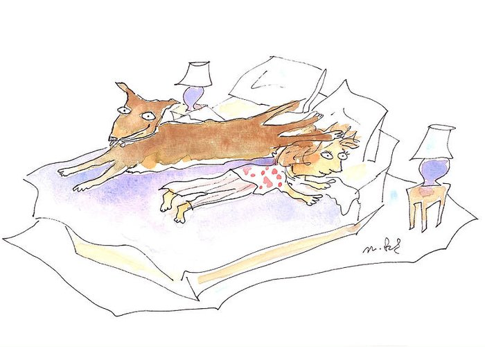 Sleeping Dogs Greeting Card featuring the drawing Let Sleeping Dogs Lie by Molly Brandenburg