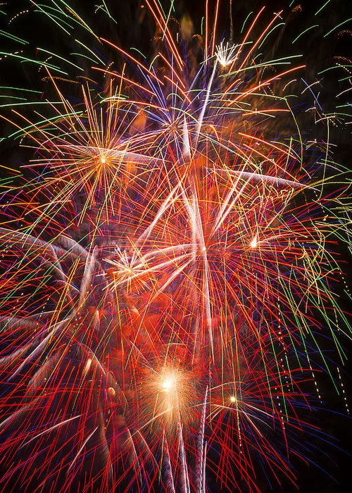 Fawesome Fireworks Lights Up The Darkness Greeting Card featuring the photograph Let Us Celebrate by Garry Gay
