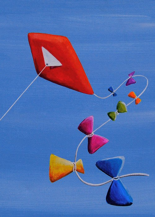 Sky Greeting Card featuring the painting Let's Go Fly A Kite by Cindy Thornton
