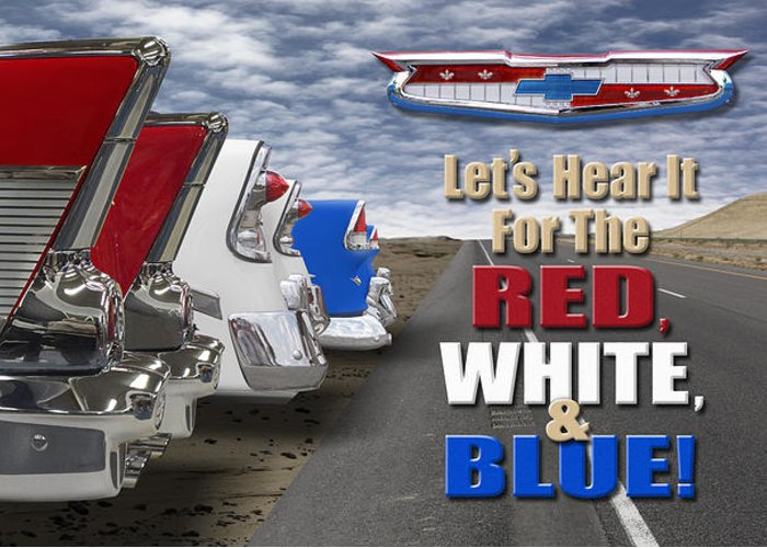Transportation Greeting Card featuring the photograph Lets Hear It For The Red White And Blue by Mike McGlothlen