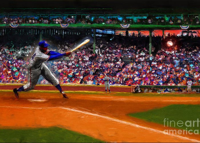 Cubs Greeting Card featuring the digital art Let's Play Two by Alan Greene