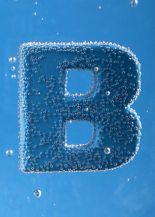letter B underwater with bubbles Greeting Card