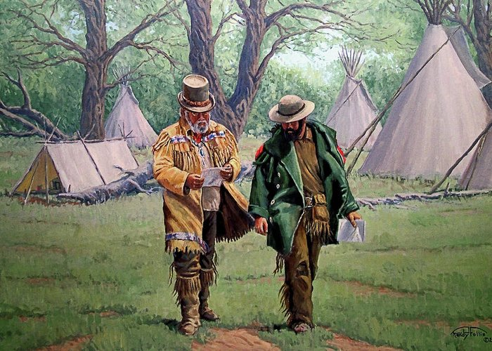 Mountain Man Greeting Card featuring the painting Letter From Home by Randy Follis