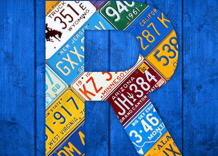 Letter Greeting Card featuring the mixed media Letter R Alphabet Vintage License Plate Art by Design Turnpike