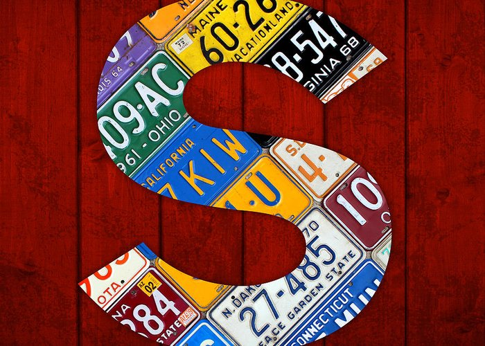 Letter Greeting Card featuring the mixed media Letter S Alphabet Vintage License Plate Art by Design Turnpike