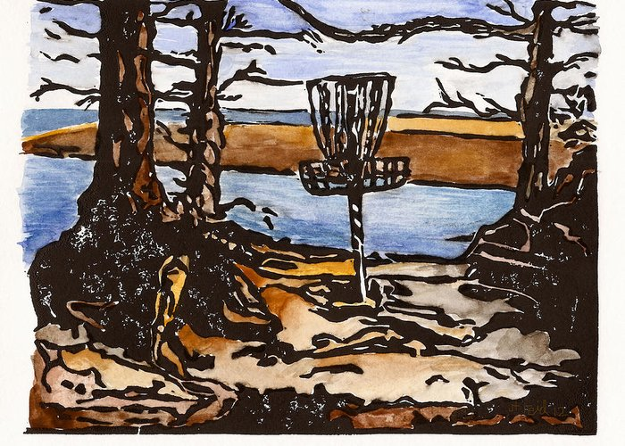 Print Greeting Card featuring the painting Lewisville Lake Hole Three by Jason Reid