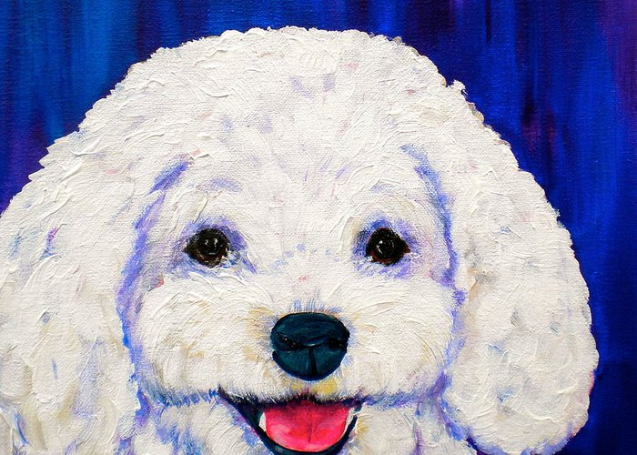 Bichon Frise Dogs Greeting Card featuring the painting Lexi by Debi Starr