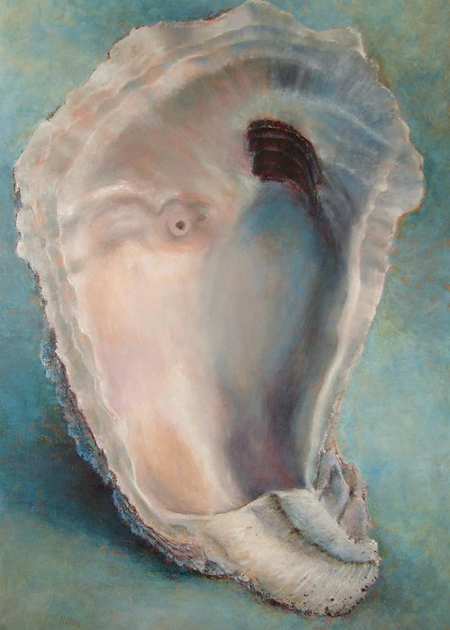 Oyster Greeting Card featuring the painting Libby's Oyster by Pam Talley