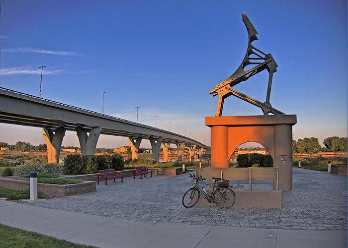 North Dakota Greeting Card featuring the photograph Liberty Bridge by Tom Winfield