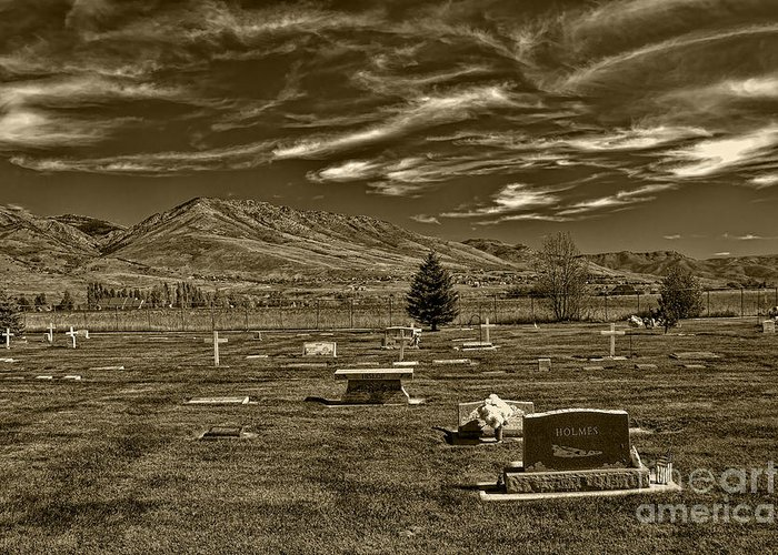 Liberty Cemetery I Sepia-toned Greeting Card featuring the photograph Liberty Cemetery I Sepia-toned by Brenton Cooper