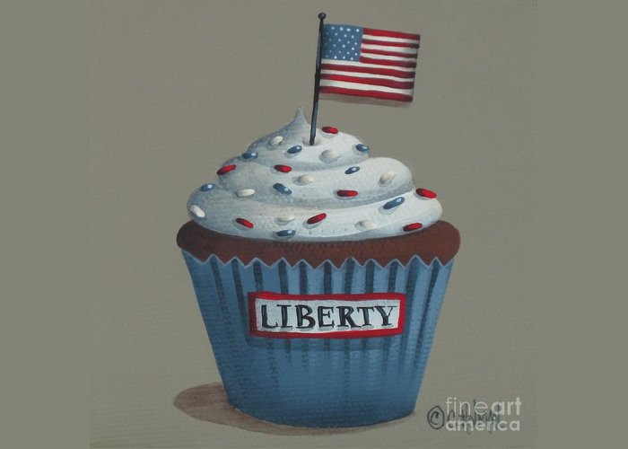 Art Greeting Card featuring the painting Liberty Cupcake by Catherine Holman