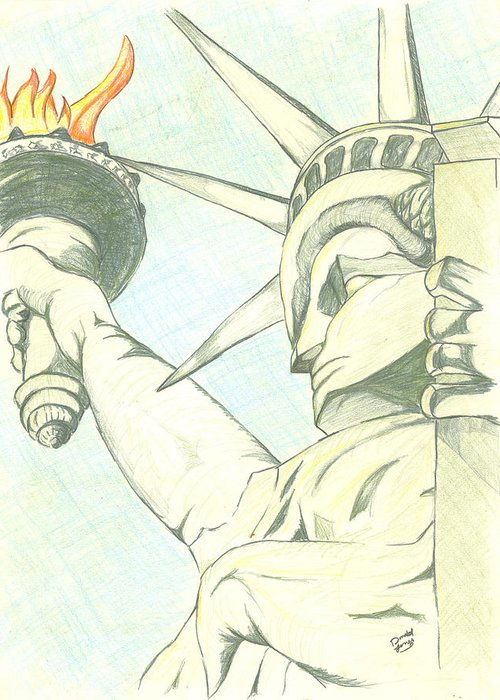 National Greeting Card featuring the drawing Liberty by Donald Jones