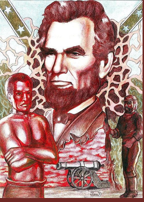 Abraham Lincoln Greeting Card featuring the drawing Liberty Red by Jamie Jonas