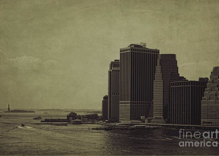 Manhattan Greeting Card featuring the photograph Liberty Scale by Andrew Paranavitana