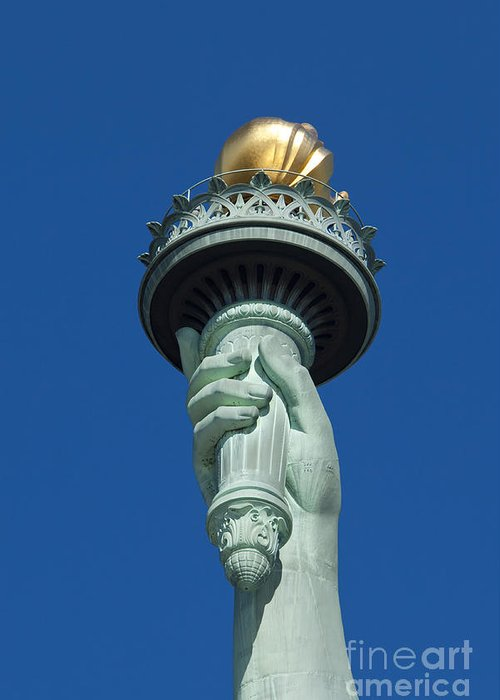 Statue Greeting Card featuring the photograph Liberty Torch by Brian Jannsen