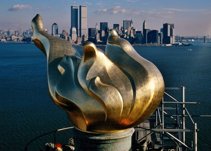 World Trade Center Greeting Card featuring the photograph Liberty's Flame by Benjamin Yeager