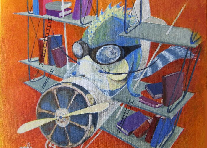 Fish Greeting Card featuring the painting Librarian Pilot by Marina Gnetetsky