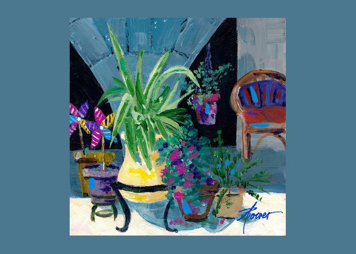 Pot Plants Greeting Card featuring the painting Library Courtyard-rhodes Old Town by Adele Bower
