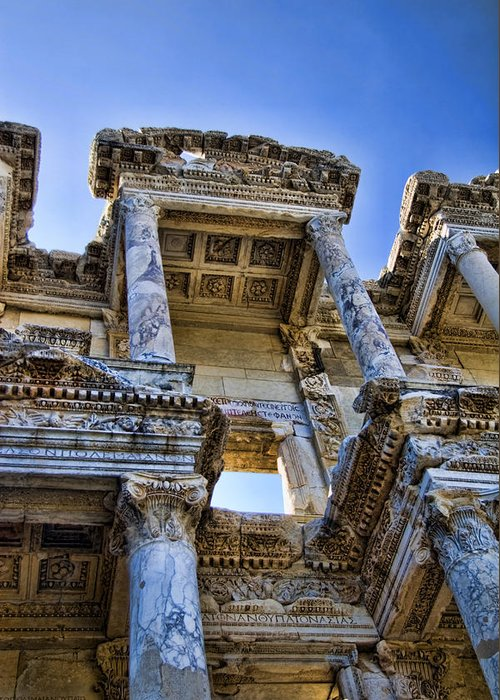 Ephesus Greeting Card featuring the photograph Library Of Celsus by David Smith