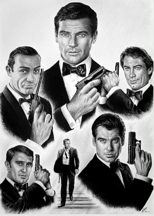 James Bond Greeting Card featuring the drawing Licence To Kill Bw by Andrew Read