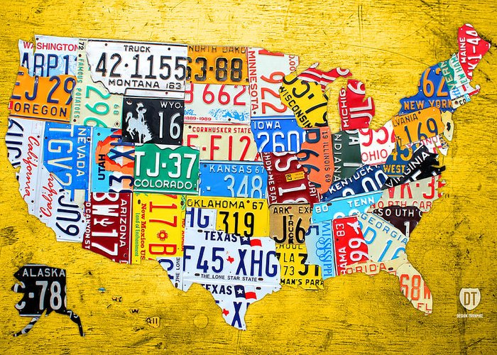 License Plate Art Map Of The United States On Yellow Board Greeting - Us-map-license-plates