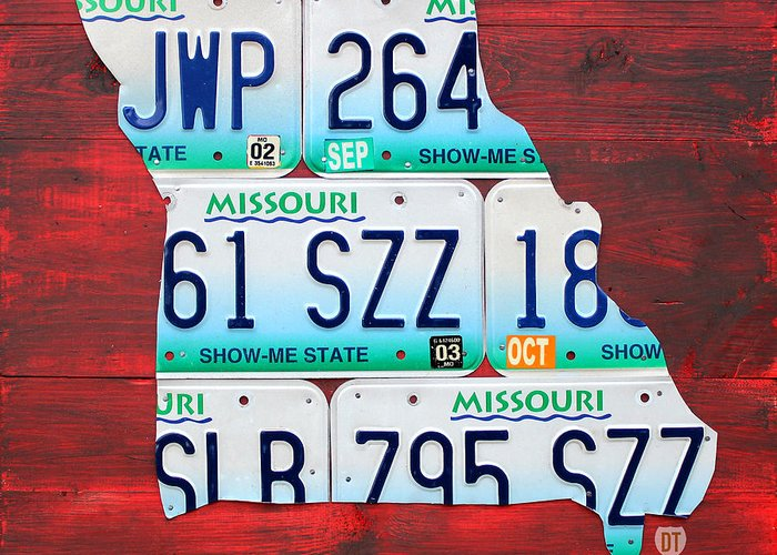 License Plate Map Greeting Card featuring the mixed media License Plate Map Of Missouri - Show Me State - By Design Turnpike by Design Turnpike