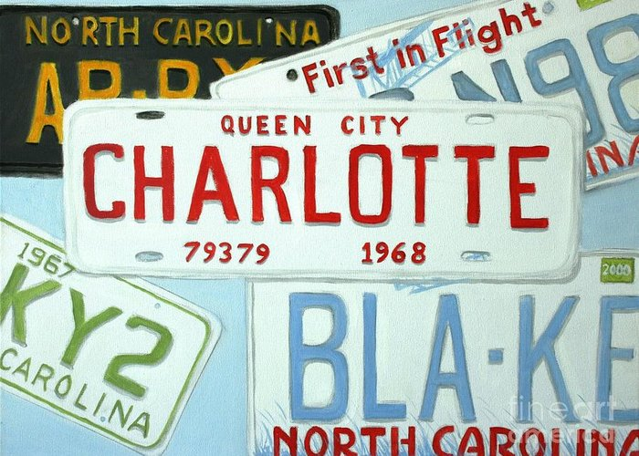 License Greeting Card featuring the painting License Plates by Stacy C Bottoms