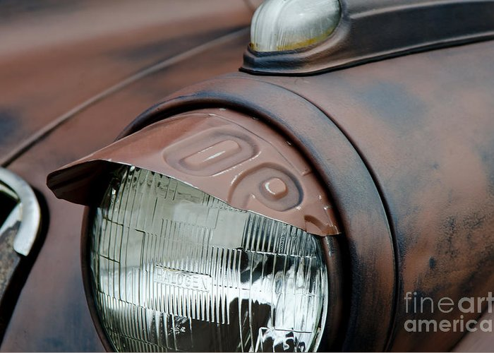 Headlight Eyebrow Cover Greeting Card featuring the photograph License Tag Eyebrow Headlight Cover by Wilma Birdwell