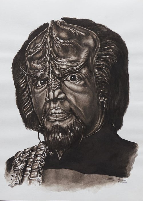 Star Trek Greeting Card featuring the painting lieutenant commander Worf Star Trek TNG by Giulia Riva