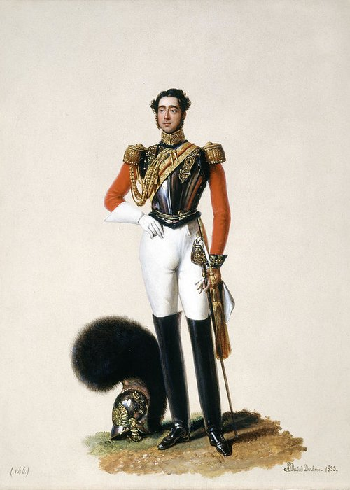 Later General Greeting Card featuring the painting Lieutenant Thomas Myddleton Biddulph by Alexandre-Jean Dubois Drahonet