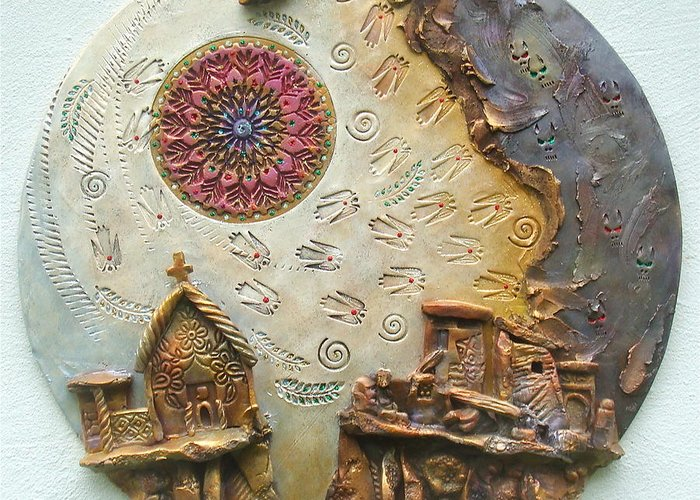 Religious Greeting Card featuring the relief Life Along The Fault Line by Gary Wilson