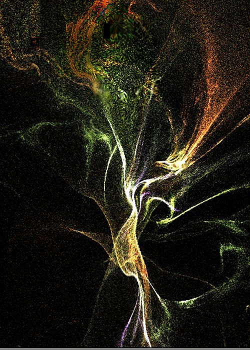 3d.fractal-flame Greeting Card featuring the digital art Life Amoung The Garden Spirits by Rebecca Phillips