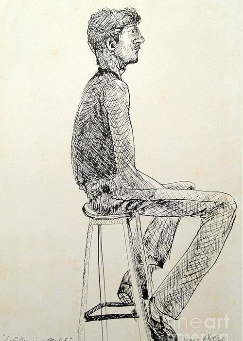 Ink Greeting Card featuring the drawing Life Drawing Model by Diane Phelps