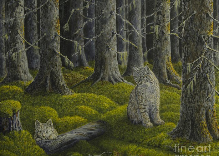 Art Greeting Card featuring the painting Life In The Woodland by Veikko Suikkanen
