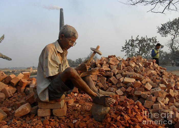 An Old Man Breaking Brick For A Loaf Of Bread Greeting Card featuring the photograph Life Like This by Shah Aziz