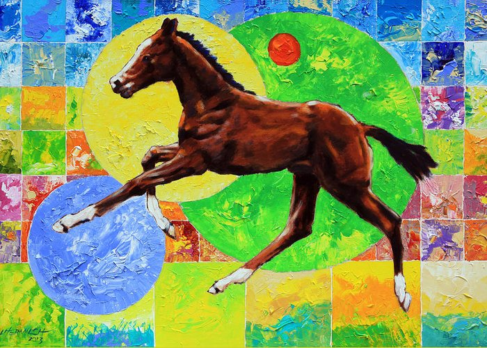 Horse Greeting Card featuring the painting Life Springs Eternal by John Lautermilch