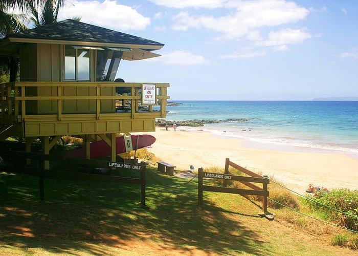 Beach Greeting Card featuring the photograph Lifeguard Hut On The Beach by John Orsbun