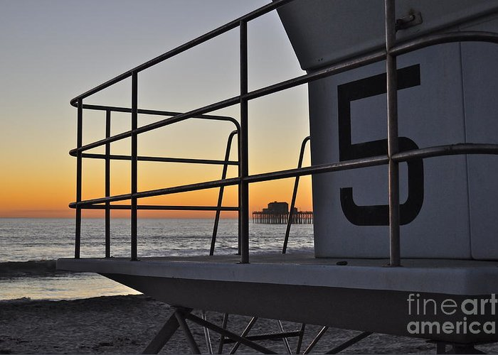 Oceanside Greeting Card featuring the photograph Lifeguard Tower 5 by Bridgette Gomes