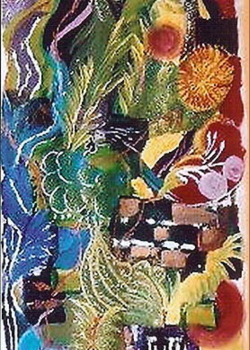 Abstract Greeting Card featuring the painting Lifeline by Lorena Fernandez