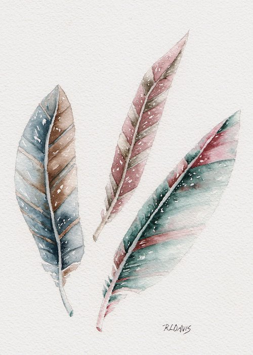 Feathers Greeting Card featuring the painting Light As A Feather by Rebecca Davis