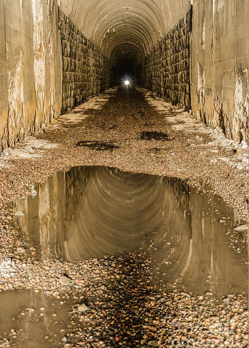 Abandoned Greeting Card featuring the photograph Light At The End Of The Tunnel by Sue Smith